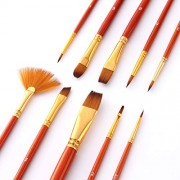 MagiDeal 10Sets Watercolor Oil Painting Brush Set Nylon Hair Paint Brushes Supplies