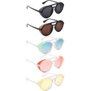 NuVew Round, Shield Sunglasses(Black, Brown, Green, Blue, Pink, Yellow)