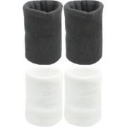 Neska Moda Unisex Black and White Cotton Wrist Band