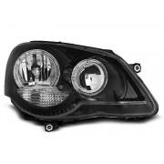 Přední světla, lampy Angel Eyes VW Polo 9N3 05-09 černá H7
