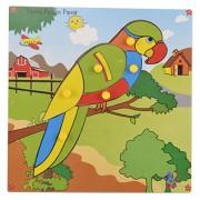Skillofun Wooden Theme Puzzle Standard Parrot Knobs, Multi Color