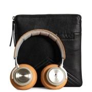 39.95 muud väska Brussels för hörlurar, handgjort läder svart