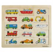 Puzzle Beleduc Amesteca si potriveste Transport, 30 de piese din lemn
