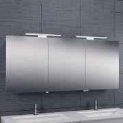 Spiegelkast Larissa 140x60x14cm Aluminium LED Verlichting Stopcontact Binnen en Buiten Spiegel Glazen Planken