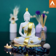 Archies Dhyana Mudra white golden polyresin decor Buddha showpiece with lotus base