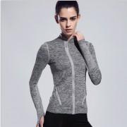 La Mujer Sport Chaqueta Running Tops Gimnasio De Fitness Yoga Capa Camisetas - Gris