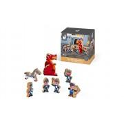 Set de joaca din lemn Mini povesti - Cavalerii si dragonul