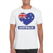 Bellatio Decorations Australische vlag in hartje shirt wit heren