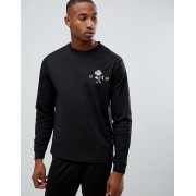 ASOS Sweatshirt In Poly Tricot With Chest Print - Black