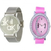 TRUE COLORS Beautiful Pink Colored Combo Pink Dot On Sillver Moon Analog Watch - For Girls