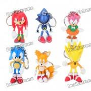sonic the hedgehog characters PVC figura de juguete llaveros (juego de 6)