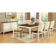 7 pc harrisburg collection country style two tone vintage white and dark oak finish wood dining table set with turned legs