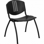 Flash Furniture Plastic Multipurpose Stacking Chair - Black, 880-Lb. Capacity, 18Inch W x 16Inch D x 29 3/4Inch H, Model RUTNF01ABK