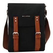 Balachia Premium Canvas & Pu Leather Casual Travel Outing Bag Crossbody Messenger Bag Shoulder Side Bag Fashion College Bag 10 Inches Ipad Tablet Bag For Men & Women (Black & Tan)