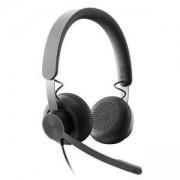 Слушалки с микрофон Logitech Zone Wired USB Headset - Microsoft Teams - Graphite, 981-000870