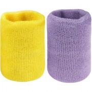 Neska Moda Unisex Yellow And Purple Pack Of 2 Cotton Wrist Band