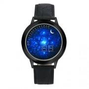 Csillagos ég számlapos, fekete óratokos LED óra