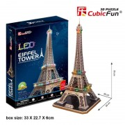 Cubicfun Turnul Eiffel Paris Franta Puzzle 3D cu LED 82 de piese