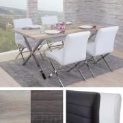 Esszimmergarnitur Fano, Tisch + 4 Stühle, 3D-Struktur Kunstleder ~ Variantenangebot