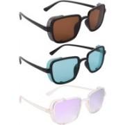 NuVew Wayfarer, Shield Sunglasses(Brown, Green, Violet)
