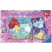 Детски Пъзел Дисни Принцеси, 3 х 49, Ариел, Бел, Пепеляшка, 7009350