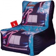 ComfyBean - Printed - Designer - Bean Chair - Size Kids - Filled With Beans Filler Piano Blue Black