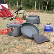 ER Senderismo al aire libre Cocinar la comida campestre Utensilios de cocina Pan Pot Hervidor Paño de cocina Set portátil.