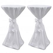 vidaXL Potahy na stůl bílé, 80 cm, s mašlí, 2 ks