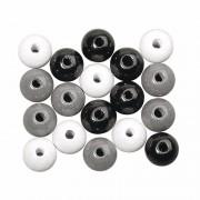 Rayher hobby materialen Houten kralen zwart/wit/zilver gekleurd 6 mm