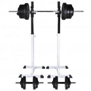vidaXL Suporte barra musculação c/ conjunto pesos e barras 60,5 kg