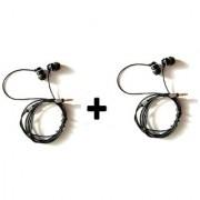 EX-088 Earphones for sony Metal Bass Handsfree stereo Headphones 3.5mm Jack with Mic(black) pack of 2