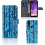 Motorola One Vision Book Style Case Blauw Wood