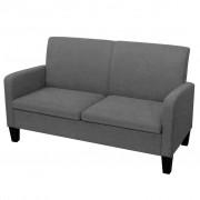 vidaXL Canapea cu 2 locuri, 135 x 65 x 76 cm, gri închis