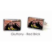 Tyler & Tyler Stencilart 7 Deadly Sins Red Brick Cufflinks Gluttony
