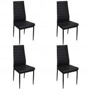 vidaXL Dining Chairs 4 pcs with Slim Line Black