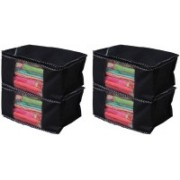 Tagve Pack of 4 Non Woven Fabric Organiser Saree cover | Saree Bag | Storage bag Reusable Multipurpose Wedding saaries Gift Storage | Foldable Box Plain (Black) BC-4(Black)