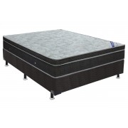 Conjunto Cama Box - Colchão Ortobom Light Ortopillow + Cama Box Nobuck Nero Black - King 1,86x1,98