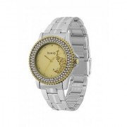 howdy Crystal Studded Analog Golden Dial Stainless Steel Chian Watch- for - Women's Girl's ss364
