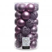 Geen Lila paarse kerstversiering kerstballenset kunststof 6 cm 36x