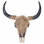 Deko Schädel 65cm HWC-T454, Polyresin Stier Bulle Longhorn Kopf Trophäe mit Tribal, In-/Outdoor ~ Variantenangebot