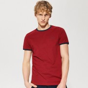 House - T-shirt z kontrastowym obszyciem - Bordowy