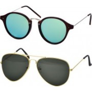 Freny Exim Oval Sunglasses(Green)
