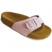Pegres korkové pantofle kožené s jedním páskem - velikost 23 - 28 růžová