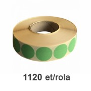 Role de etichete semilucioase rotunde verzi 35mm, 1120 et./rola