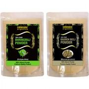 Donnara Organics 100% Natural Bhringraj Powder and Kaunch Beej powder Combo pack of 2 of 150 gms(300 gms)