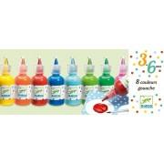 DJECO Farby plakatowe w tubie, buteleczkach 8 szt. po 30ml, różne kolory, DJ08861