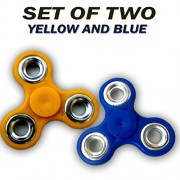 Fidget Spinner - Anti Anxiety Fidget Spinner Helps Focusing Fidget Toys [3D Figit] Premium Quality EDC Focus Toy for Kids & Adults - Best Stress Reducer Relieves Anxiety and Boredom Ceramic Cube Bearing - YELLOW & BLUE By ART N SOUL