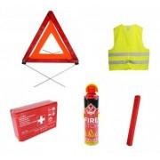 Pachet Siguranta auto cu stingator tip spray trusa medicala vesta reflectorizanta si 2 triunghiuri