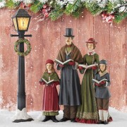 "Christmas Victorian Carollers Choir With Lamp Post Scene 23"" (58.4Cm)"