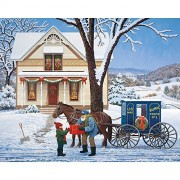 Bits and Pieces - 500 Piece Jigsaw Puzzle for Adults - Special Delivery - 500 pc Winter Holiday Scene Jigsaw by Artist John Sloane